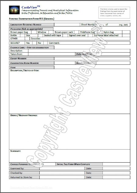 Forensic Examination Form (General Eviedence)
